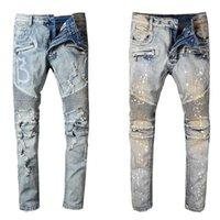 джинсы оптовых-Balmain Jeans Новая модная мужская дизайнерская марка черные джинсы Узкие рваные эластичные эластичные брюки-хоп-хоп с отверстиями для мужчин