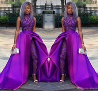 Wholesale short sleeve luxury cap dress resale online - 2019 Classic Jumpsuits Prom Dresses With Detachable Train High Neck Lace Appliqued Bead Evening Gowns Luxury African Party Women Pant Suits