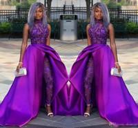 perlen für anzüge großhandel-2019 klassische Overalls Prom Kleider Mit Abnehmbarem Zug High Neck Spitze Applizierte Perlen Abendkleider Luxus Afrikanische Partei Frauen Hosenanzüge