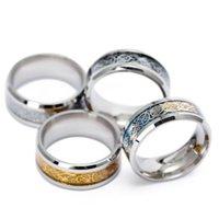 ring drachen chinesisch großhandel-Edelstahl Silber Gold Drachen Design Fingerring Chinesischen Drachen Ring Band Ringe für Frauen Männer Liebhaber Hochzeit Ring Drop Shipping