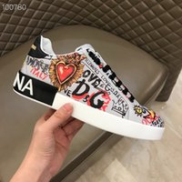 best service d3ee1 090aa Wholesale NEW Mens designers shoes DOLCE GABBANA Portofino Sneakers In  Printed leather DG white ace men