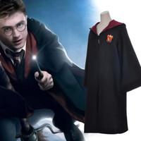bata gryffindor adulto al por mayor-Harry Potter Robe Cloak Fashion Cosplay disfraz niños adultos Harry Potter Robe Cape Gryffindor Slytherin Ravenclaw Party Prop TTA1443