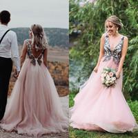 Wholesale blush beach wedding dresses for sale - Group buy Sexy Summer Beach Blush Pink Embroidery A Line Wedding Dresses Deep V Neck Backless Custom Made Bridal Dress