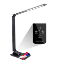 ingrosso lampade da tavolo-Desk Lamp con il caricatore senza fili, USB, 5 Luminosità 3 colori, regolabile lampada da tavolo per ufficio, camera o dormitorio, nero, 7W