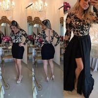 indiana sexy de volta venda por atacado-Sexy Black Lace manga comprida vestido de baile 2018 Botão Sheer Voltar destacável removível saia indiana Floral Evening Vestidos
