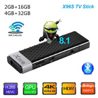 tv için android sopa toptan satış-X96S Yangın TV stick Android 9.0 TV Box Amlogic S905Y2 2GB / 16GB 4GB / 32GB Bluetooth 4K MİNİ Dongle Media Player