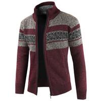 estilo europeo tallas grandes al por mayor-Más el tamaño XXXL de la vendimia suéter para hombre del diseñador de punto Sweatercoat Hombres Estilo Europeo hombre suéteres de la capa de lana Patrón Cardigan A384