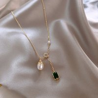 Wholesale pearl pendant neck for sale - Group buy Grand Grandmother Green Pearl Pendant Necklace Elegant White Collarbone Chain French Fashion Net Red Neck Chain