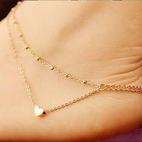 ingrosso braccialetto di campana indiano-Elegante Double Layer Love Chain Cuore Pendent cavigliera d'acciaio di titanio cuori della pesca Charm Bracelet piedi nudi della caviglia Beach regali gioielli