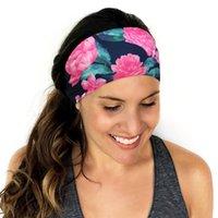 elastik şeritler toptan satış-Kadınlar elastik bandı spor yoga aksesuar dans biker geniş bandı çiçek baskı şerit baskılı sakız saç bantları # 72126