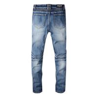 schwarze jeans trendy großhandel-Balmain Trendy Herrenmode College Boys Skinny Runway Straight Zipper Jeans Destroyed Ripped Jeans Schwarz Weiß Rot Jeans Heißer Verkauf