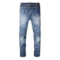 ingrosso jeans neri per i ragazzi-Jeans alla moda da uomo alla moda Balmain College Boys Skinny Runway Straight Zipper Denim Jeans strappati distrutti Jeans neri bianchi rossi Vendita calda