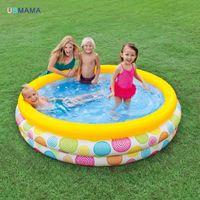 piscina inflável do mar venda por atacado-Padrão geométrico aleatório de três camadas de plástico inflável piscina família piscina bacia do mar