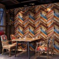 faux holz tapete großhandel-Retro Vintage Faux Holz Tapete 3D Amerikanischen Hintergrund Persönlichkeit Kaffee Restaurant KTV Skandinavischen Tapete