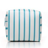 большие мешки с застежкой из пвх оптовых-Organizer Cosmetic Pouch Square Shape Toiletry Large Capacity Multi-Purpose Striped Pattern Waterproof Zipper Makeup Bag PVC