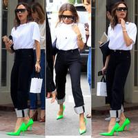 sapatas da faca venda por atacado-2019 paris runway shoes mulher sandálias faca quadrada fluorescente de couro de néon-verde bombas mulheres sapatos zapatos de mujer