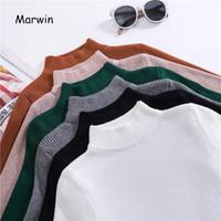 грунтовка оптовых-Marwin 2018 New-coming Autumn Turtleneck Pullovers Sweaters Primer shirt long sleeve Short Korean Slim-fit tight sweater