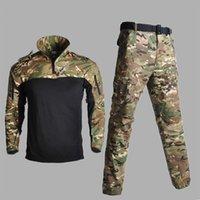 taktik pantolon gömlek toptan satış-Erkek Ordu Avcılık CS Setleri Üniforma Kamuflaj Savaş Takım Savaş Oyunu Multicam Gömlek + Pantolon Taktik Dişli Suits