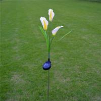 estacas de patio al por mayor-Lily Flower Estaca Impermeable 3 LED Luz solar Energía solar LED Jardín Patio al aire libre Luz Paisaje Lámpara Decoración
