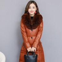длинное пальто из искусственного меха оптовых-Faux  Fur Collar PU Leather Jacket Womens Elegant  Plus Size S-4XL Ladies Long Parkas Coat Slim Fit Warm Winter Clothes