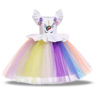 Wholesale baby clothing line online - 7 colors Baby girls unicorn dress children TUTU lace Tulle princess dresses cartoon summer Boutique kids Clothing B11