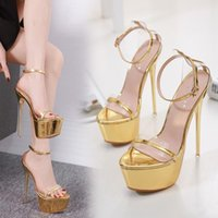 gold ultra high heels sandalen großhandel-16cm ultra high heels gold schuhe frau designer high heel sandalen prom gowmn kleid schuhe größe 34 bis 40