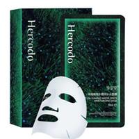 feuilles de levage achat en gros de-Hercodo 10Pc Deepsea Algues Masque pour le visage Visage soins de la peau Feuille Enveloppé masque facial Hydratant anti-rides Lift Masque de beauté anti-âge Box
