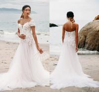 weiches spitze-nixe-hochzeitskleid großhandel-Lace Beach Mermaid Wedding Dresses 2019 Schulterfrei Backless Lange Weiche Tüll Sweep Zug Brautkleider Heißer Verkauf Appliques Plus Size Kleider