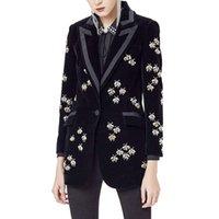 casacos de veludo preto mulheres venda por atacado-2019 Top Fashion das Mulheres de Alta Qualidade de Luxo Preto Blazers De Veludo Animal Entalhado Beading Fit Blazer Brasão Plus Size XXXL