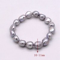 süßwasser zuchtperlen grau großhandel-grau (grau) farbe armband perle semi barock tear drop unregelmäßige form natürliche süßwasserzuchtperlen für frauen