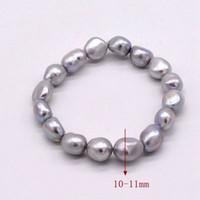 ingrosso braccialetti di perle d'acqua dolce barocca-grigio (grigio) braccialetto di colore perla semi barocco a forma di goccia irregolare naturale Perle coltivate d'acqua dolce per le donne