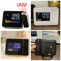 Wholesale screen color squares for sale - Group buy Time Watch Projector Multi Function Digital Alarm Clocks Color Screen Desktop Clock Display Weather Calendar Time home decor FFA3287