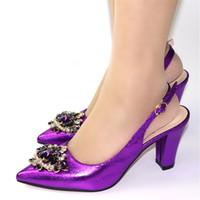 bolso a juego con bombas moradas al por mayor-2019 Nueva Oficina de Nigeria bombea los zapatos sin los zapatos bolsa púrpura determinada de la manera del color de boda africanos que no coincida empaqueta el sistema italiano
