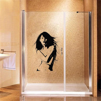 Wholesale fashionable kids glasses resale online - Sexy Woman Bathroom With Toilet Glass Sticker Waterproof Vinyl Door Sticker