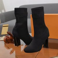 Wholesale snow boots size 42 for sale - Group buy 2019 Autumn winter Colour letters Classic Flower CM High heels Knit Sock Boots Fashion Women s Evening Party Boot With Box size