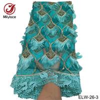 ingrosso appliques da tessuto da sposa-Applique tessuto africano del merletto grazioso tessuto di pizzo verde perline da sposa partito / abito da sposa nigeriano ELW-26