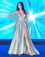 ingrosso vestito di sequin della perla lungo-2019 Incredibili paillettes argento perline pageant abiti sexy immergenti scollo a V Side Split abiti da sera una linea in raso lungo abito da ballo