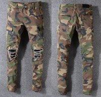 neue herren jeans berühmte marke großhandel-Berühmte Camo Jeans der neuen Sommermodedesigner der Männer riss berühmte Marke Biker-beiläufige Hosen Hip-Hop-Jeans für Jeans Denim lange Hosen