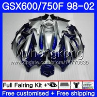 Wholesale gsxf fairings for sale - Group buy Body For SUZUKI KATANA GSXF GSXF750 HM GSX F F Blue silvery hot GSXF600 Fairing