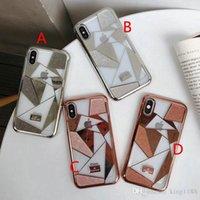rhinestone case al por mayor-2-en-1 marca de lujo cubierta de la caja del teléfono rhinestone de lujo para el iphone Xs max X Xr 7 7plus 8 8plus 6 6plus