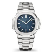 мужские часы оптовых-Лучшие Nautilus Часы Мужские Автоматические Роскошные Часы 5711 Серебряный ремешок синий нержавеющей Мужские механические Orologio ди Lusso наручные часы Дата Chrono