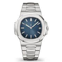 oben mm großhandel-Top Nautilus-Uhr-Mann-automatische Luxus-Uhren 5711 Silber Armband Blau Edelstahl Herren Mechanische Orologio di Lusso Armbanduhr Datum Chrono