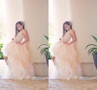 bonito pageant vestidos venda venda por atacado-2020 Ligh pêssego Oi meninas Flor Low Lace Vestidos apliques bonito Primeira Comunhão Vestidos Meninas Pageant vestido barato Hot Sale
