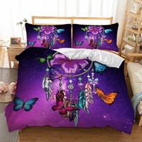 conjuntos de cama roxa em tamanho completo venda por atacado-Roxo Dreamcatcher Bedding Sets borboleta capa de edredão Fronhas gêmeas completo rainha king size Roupa de Cama 3pcs