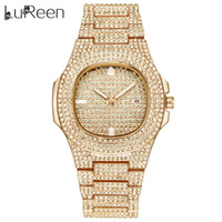 круглые мужские часы оптовых-Lureen Hip Hop Iced Out Gold Color Watch Quartz  Full Diamond Round Watches Mens Stainless Steel Wristwatch Gift