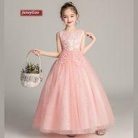 kızlar için uzun pembe elbiseler toptan satış-Düğün PartyGirls İlk Communion Elbise Pembe Yarışması Genç Long 2019 Yaz Sıfır JaneyGao Çiçek Kız Elbise