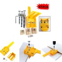 ingrosso utensile per trapano di legno-41pcs Foro per la lavorazione del legno di collegamento Localizzatore di foratura Utensili per il posizionamento di fori dritti gialli Set di punte da trapano in acciaio inossidabile