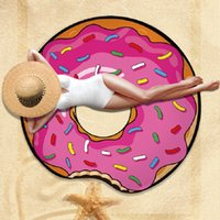 erdbeeren torte großhandel-150 * 150 cm Runde Polyester Sarongs Strand Dusche Handtuch Decke Yoga Handtuch Schädel Hamburger Erdbeer Donut Ananas Pie Schal Badebekleidung