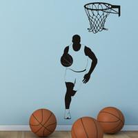 vinil de basquete venda por atacado-Estrela de basquete Removível Adesivos de Parede Fora Do Esporte Decalque Da Parede Do Vinil DIY Decoração Auto Adesivo Para GINÁSIO Adolescentes menino quarto