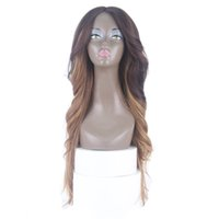 Wholesale celebrity wig online - ZXtress Celebrity style Synthetic wigs loose wave Straight Hair Wig Ombre Brown color DXR1233 Wigs with side bangs pelucas women full wigs